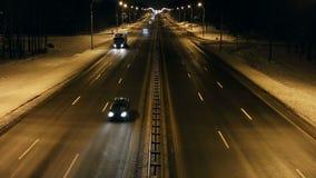 都市风景timelapse在晚上 街市业务量 股票录像