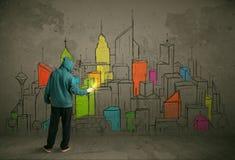 年轻都市画家图画 免版税库存图片