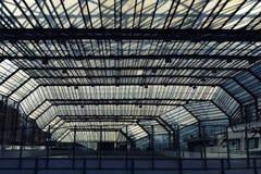 都市建筑在玻璃屋顶下 免版税库存照片