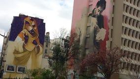 都市巴黎街道艺术13 arrendissement 免版税库存图片