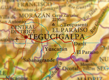 洪都拉斯市特古西加尔巴关闭地理地图  免版税图库摄影