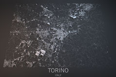都灵地图,卫星看法,意大利 免版税库存图片