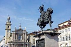 都灵对Emanuele菲利韦托di Savoia的纪念碑 免版税库存图片