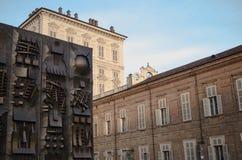 都灵,广场Castello 免版税图库摄影