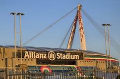 都灵,意大利,山麓- 2018年3月8日在往日落的18:15 安联体育场在都灵 免版税库存照片