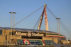 都灵,意大利,山麓- 2018年3月8日在往日落的18:15 安联体育场在都灵 免版税图库摄影