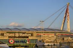 都灵,意大利,山麓- 2018年3月8日在往日落的18:15 安联体育场在都灵 库存照片