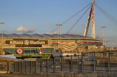 都灵,意大利,山麓- 2018年3月8日在往日落的18:15 安联体育场在都灵 图库摄影