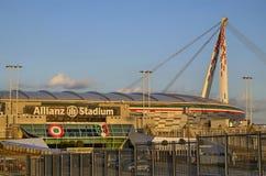 都灵,意大利,山麓- 2018年3月8日在往日落的18:15 安联体育场在都灵 库存图片