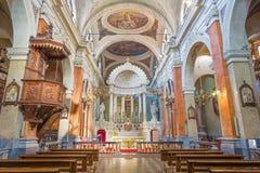 都灵,意大利- 2017年3月14日:巴洛克式的基耶萨di Sant阿戈斯蒂诺教堂中殿  免版税库存图片