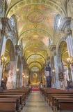 都灵,意大利- 2017年3月14日:巴洛克式的教会基耶萨di圣弗朗切斯科教堂中殿  库存图片
