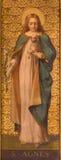 都灵,意大利- 2017年3月13日:圣艾格尼丝绘画在教会基耶萨di Santo Tomaso里 免版税库存图片