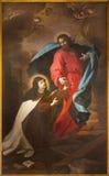 都灵,意大利- 2017年3月13日:圣阿维拉Theresia的描绘绘画在教会基耶萨di圣诞老人特里萨里 免版税库存照片