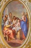 都灵,意大利- 2017年3月16日:壁画耶稣割除阴茎教会基耶萨二的圣马西莫毛罗Picenardi 图库摄影