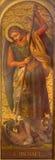 都灵,意大利- 2017年3月13日:天使迈克尔绘画在教会基耶萨di Santo Tomaso里 免版税库存照片