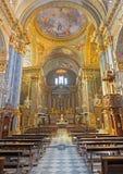 都灵,意大利- 2017年3月13日:教会基耶萨di圣诞老人特里萨教堂中殿  库存照片