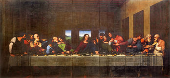 都灵,意大利- 2017年3月13日:最后的晚餐绘画在列奥纳多・达・芬奇以后的中央寺院Vercellese路易Cagna 1836 免版税图库摄影