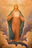 都灵,意大利- 2017年3月14日:耶稣的耶稣圣心绘画教会基耶萨二圣玛丽亚della的Consolazione 库存照片