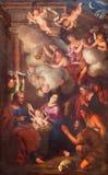 都灵,意大利- 2017年3月14日:诞生绘画在教会基耶萨二圣洛伦佐的彼得罗Dufour 1689 图库摄影