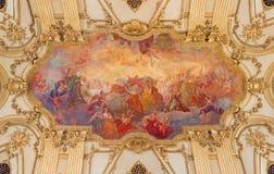 都灵,意大利- 2017年3月14日:维尔京玛拉的做法巴洛克式的天花板壁画教会Santuario della的Consolata 免版税库存照片