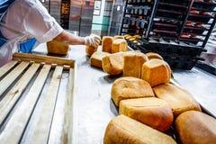 鄂木斯克,俄罗斯- 2014年12月19日:在面包工厂的Wokers 免版税库存图片