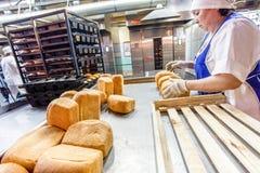 鄂木斯克,俄罗斯- 2014年12月19日:在面包工厂的Wokers 库存照片