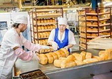 鄂木斯克,俄罗斯- 2014年12月19日:在面包工厂的Wokers 库存图片