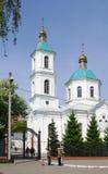 鄂木斯克,俄罗斯- 2012年5月17日:Kresto-Vozdvizhenskiy Ñ的看法athedral 库存图片