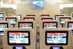 酋长管辖区空中客车A380航空器内部 免版税库存图片