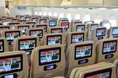 酋长管辖区空中客车A380航空器内部 免版税库存照片
