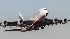 酋长管辖区空中客车A380飞机 免版税库存图片