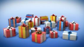 配件箱上色了礼品 免版税库存图片