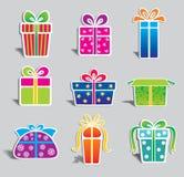 配件箱五颜六色的礼品集合向量 免版税库存照片