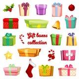 配件箱五颜六色的礼品集 免版税库存照片
