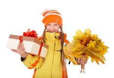 配件箱儿童礼品藏品离开桔子 库存照片