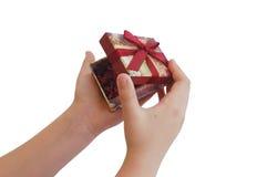 配件箱儿童礼品递空缺数目红色丝带 库存照片