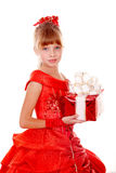 配件箱儿童礼服礼品女孩红色 免版税库存图片