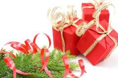 配件箱分行圣诞节礼品红色结构树 库存照片
