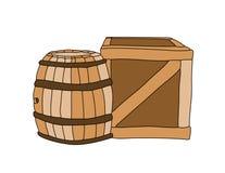 配件箱和酒桶 库存照片
