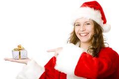 配件箱圣诞节指向圣诞老人妇女的克&# 库存照片