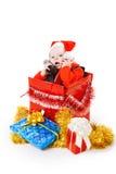 配件箱婴儿圣诞节的礼品 免版税库存照片