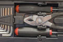配件箱工具套件用工具加工多种 免版税库存照片