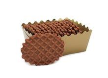 配件箱巧克力查出的特写镜头曲奇饼 库存照片