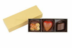 配件箱巧克力花梢华伦泰 免版税库存图片