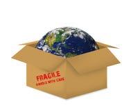 配件箱开放纸板的地球 免版税库存图片