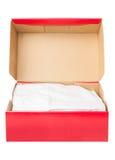 配件箱开放纸鞋子 免版税库存照片