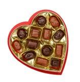 配件箱心形糖果的巧克力 图库摄影