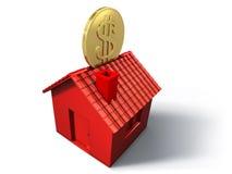 配件箱房子货币红色 免版税图库摄影