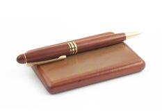 配件箱拟订访问空白木的笔 免版税库存照片