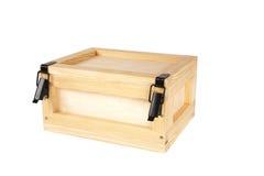 配件箱查出的空白木 免版税图库摄影